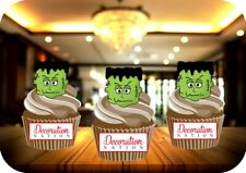 Halloween Frankenstein Head 12 Edible STANDUP Cake Toppers Spooky Scary Green