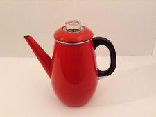 VINTAGE RED ENAMEL COFFEE PERCOLATOR GRANITE WARE 8 CUP COFFEE POT