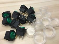 10 Pieces Green waterproof cap 12V LED Rocker switch on off 3pin lighted car C28