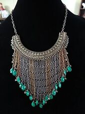 Vintage Egyptian Revival Bib Necklace Brass Tone Dangling Chain Green Beads