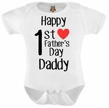 Personalised Baby Vest Bodysuit Happy 1st Fathers Day Daddy Blk Txt Red Love Hrt