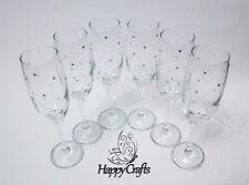 Scatter Gem Base Wedding Champagne Flutes Top Table Set of 6 Silver
