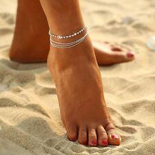 1X Multilayer Fußkettchen Strand Fußkette Ketten Armband Fußschmuck Brautschmuck