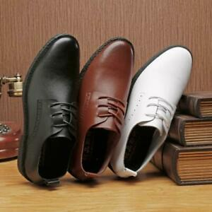 Men Breathable Flat Formal  Leather Brogue Pointy Toe Lace up  Low Top Shoes