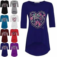 Womens Plus Size Dip Hem Top Ladies Floral Heart Print 3/4 Sleeves Tunic Hi Low