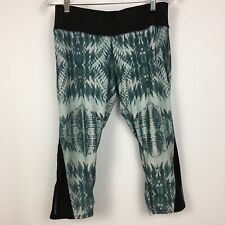 EVCR Evolution & Creation Leggings Large Green & Gray Print Cropped Yoga Womens