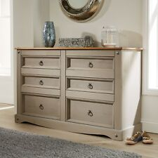 Home Source CORONA Grey Chest of Drawers Pine 6 Drawer Solid Pine Mexican Wooden