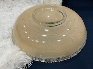 "15"" Large vintage retro Art Deco Ceiling light Lamp glass shade 3 chain holes"