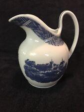 """Estee Lauder Quatre Saisons Blue & White Porcelain Pitcher Vase Japan 6 3/4"""" H"""
