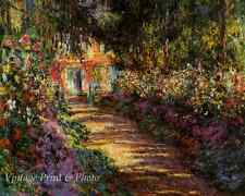 Pathway in Garden at Giverny by Claude Monet  Art Flowers Trees 8x10 Print 0998