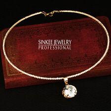 Round Cubic Zircon Pendant Choker Collar Necklace 18K Yellow/White Gold XL602