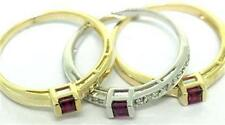 Ruby & 20 Diamond 9ct 9K Solid Gold Triplet Ring - SZ N/7.0 - 30 Day Refunds