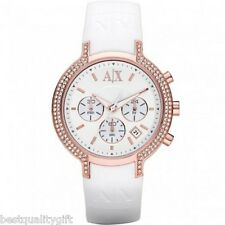 NEW-ARMANI EXCHANGE WHITE SILICONE ROSE GOLD CHRONOGRAPH+CRYSTALS WATCH-AX5063