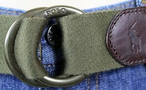 Polo Ralph Lauren Olive Green Fabric Belt Brass Buckle NWT S