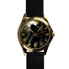 WereWolf Moonlight Roman Numeral Dial Quartz Black Leather Strap Wrist Watch