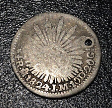 1824 Hook Neck Mexico Silver 1/2 Reales Spanish Key Date Mexican Coin