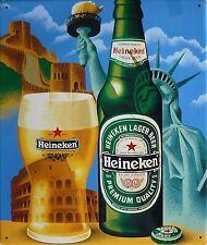 Heineken Lager Beer - Blechschild 30x35cm Bier Freiheitsstatue Chinesische Mauer