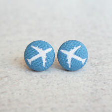 Airplanes Fabric Button Earrings