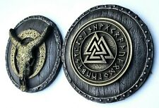 Valknut with Runes and Longhorn Buffallo Skull Wall Sculpture Rustic Home Decor
