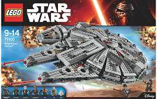 STAR WARS MILLENNIUM FALCON 75105 REY FINN HAN SOLO BB-8 CHEWBACCA LEGO BOXSET