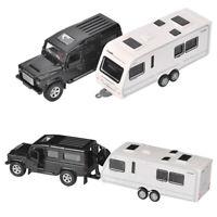 Off-road Vehicle SUV Trailer w/ Motorhome Model Car Diecast Toy Gift Kids Boys