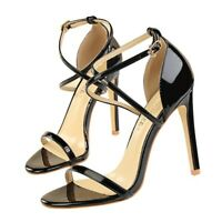 Womens Stiletto High Heel Cross Strappy Sandals Patent Leather Ankle Strap Shoes