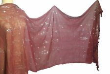 Gorgeous Soft Egyptian Assiut silver Tulle Hip Scarf Wrap Veil 75917