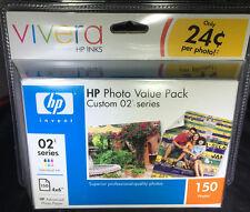 NIP HP  Photo Value Pack Vivera 02 Series 6 Ink cartridges 150 4x6 Paper Sheets