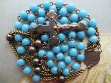 Mid-1800s Big Antique Blue Opaline Glass Beads Rosary-with Steel Paters/Crucifix