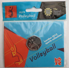 2012 50p OLYMPIC 26/29 VOLLEYBALL COIN HANGING BAG BRILLIANTLY UNCIRCULATED @