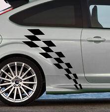 2 X BANDES DAMIERS AUTO FORD FOCUS RS AUTOCOLLANT STICKER NOIR MAT BD510