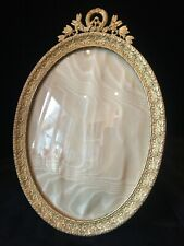 Fine Large Oval Gilt Dore Bronze French Antique Photo Picture Frame