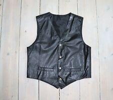 "Men's Vintage Fitted Black 100% Leather Waistcoat Vest Size M / Pit To Pit 20.5"""