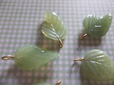 12 Opal Green Leaf Charms Beads Leaves with Brass Loops 24mm X 14mm