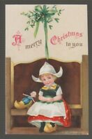 "[42429] OLD POSTCARD ARTIST SIGNED ELLEN H CLAPSADDLE ""A MERRY CHRISTMAS to YOU"""