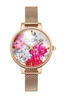 New $155 TED BAKER Kalona Babylon Mesh Strap WATCH Rose Gold Color