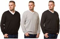 Mens Plain Knitted V Neck Classic Full Sleeve Cardigans Tops Jumpers S M L XL