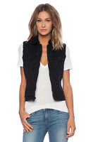 New NWT Womens True Religion Jeans Designer L Black Vest Sherpa Lined Jacket