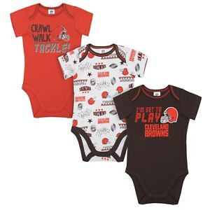 Cleveland Browns Baby Onesie Bodysuit 3 Pk - Gerber NFL Newborn 3-6m