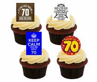 70th Birthday Male Funny Edible Cupcake Toppers, Standup Wafer Cake Decorations