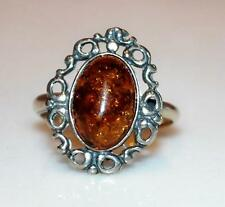BEAUTIFUL STERLING SILVER SOLITAIRE AMBER LADIES RING SZ 7 *2.6 GR RT4