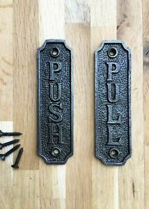 SOLID ANTIQUE STYLE CAST IRON PUSH AND PULL DOOR SIGNS DOOR PLAQUE