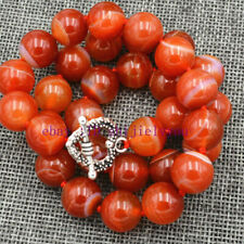 """12mm red striped agate gemstone necklace 18 """""""