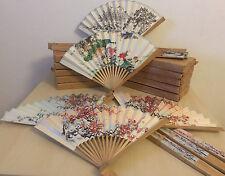 10x Handfächer Taschenfächer Holz Papier Fächer Deko Beidseitig bedruckt