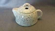 "Vintage  Mini Teapot With Lid Porcelain Miniature Blue And White Speckle 3"" Tall"