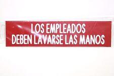 """los empleados deben lavarse las manos 8"""" 8""""x2"""" Engraved Red w White Letters Sign"""