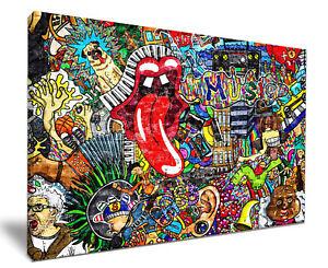 Music Legends Graffiti Wall HD Framed Canvas Wall Art Picture Print