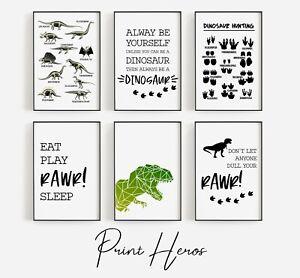 Dinosaur Nursery Prints Kids Bedroom Poster Wall Art Picture Poster T-Rex