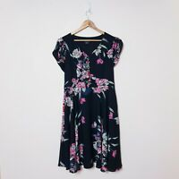 City Chic Womens Plus Size S Small Black Floral Button Up Fit Semi Flare Dress