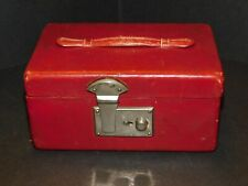 VINTAGE RED LEATHER JEWELLERY CASE